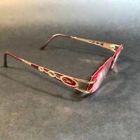 CAZAL Gold Red Oval Rectangular Wire Sunglasses FRAMES ONLY Unknown Model