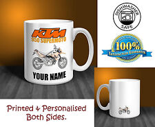 KTM 950 Supermoto Motorbike Personalised Ceramic Mug Gift (MB017)