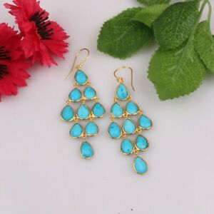 925 Silver 18K Gold Plated Turquoise Gemstone Wedding Chandelier Earrings