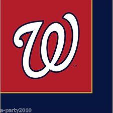 MLB WASHINGTON NATIONALS LARGE NAPKINS (24) ~ Sports Birthday Party Supplies