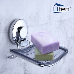 Wall-Mounted Soap Holder Rack Bathroom Dish Kitchen Tray Strong Suction Sink