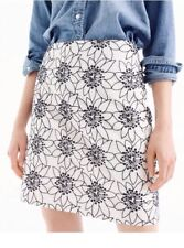 NWT J.Crew Embroidered Floral Mini Skirt Ivory Navy Blue G8559 Size 4