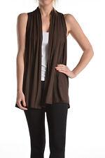 USA Women Sleeveless Vest Cardigan Shawl Collar Draped Open Front Top S M L XL