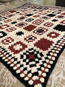 CROCHET Handmade Granny Blanket, Throw. Navy Blue, Russet & Cream. Gift