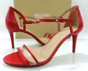 Michael Kors Simone Mid Heel Dress Sandal Ankle Strap Bright Red Size 10