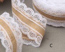 10m Natural Jute Burlap Hessian Lace Ribbon Vintage Wedding Decoration Wrapping