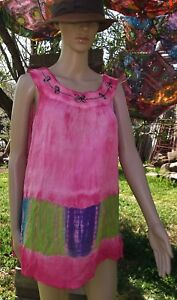 L@@K!NEW!FREESIZE TO SZ20+ INDIAN TIEDYE EMBROIDERED BOHO HIPPIE GYPSY TOP-AF45
