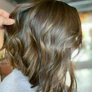 100% Human Hair! New Fashion Sexy Medium Light Brown Wavy Women's Natural Wigs