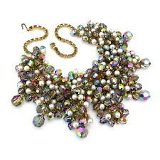 Vtg JULIANA D&E Massive Dangle Bead Rhinestone Faux Pearl Bib Necklace Choker