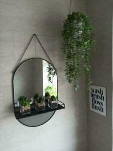 Industrial Black Wall Hanging Mirror with Mini Shelf Decor Metal Frame 59cm NEW