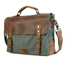 "Leather Canvas Men 14"" Laptop Briefcase Crossbody Messenger Shoulder Bag Satchel"