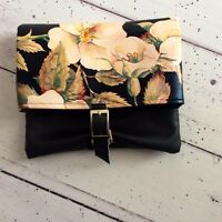 Black Faux Leather Leatherette Floral Print Leather Silver Buckle Clutch Bag