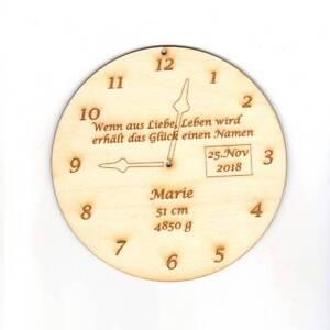 Geschenk zur Geburt, Name Gewicht Größe Datum Uhrzeit Personalisierte Holzuhr