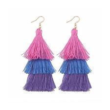Layered Pink Purple Tassle Tassel Earrings Dress Present Gift Ladies Womans UK