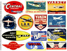 TRAVEL STICKERS, Airplane & Airline Decals, 1 Sheet, 13 Travel REPRODUCTIONS