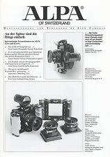 Prospetto SALES BROCHURE 2004 Alpa 12 wa SWA fotocamera medio formato D GB CAMERA