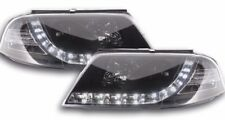 VW Passat B5 01-05 Black DRL Devil Eyes Projector Front Headlights Lights - Pair
