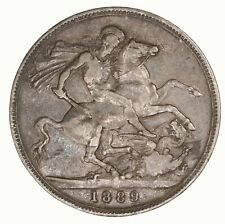 Raw 1889 Great Britain Crown Silver UK Coin