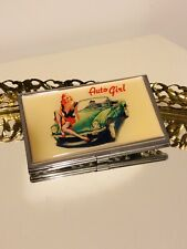 Auto Girl Compact Mirror/Card Holder Vintage Rockabilly Pin Up Girl Retro