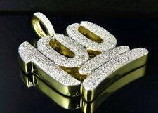 "Men's Sterling Silver Yellow Gold Finish Real Diamond 100 Emoji Pendant 1.5"""