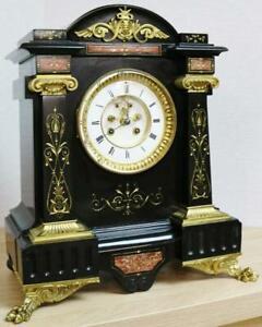 Impressive Antique French 8 Day Striking Ornate Marble & Bronze Mantle Clock