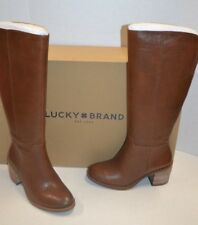 LUCKY BRAND RITTEN WHISKEY LEATHER WIDE CALF SZ 7 M 37 EUR RIDING WESTERN BOOTS