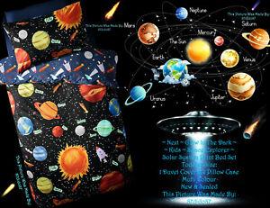 🚀 Next Planets Glow In The Dark Bed Set Sun Moon Stars Rocket Mars Jupiter UFO