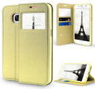 GOLD INFOLIO WINDOW WALLET CREDIT ID CARD CASE STAND FOR SAMSUNG GALAXY S7 EDGE