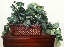 "Ivy Artificial Faux Silk Plant Arrangement Decor Wicker Basket, Medium 15"" tall"