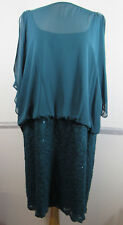 R M Richards Woman Dress 22W Dark Teal Lace Overlay skirt Sheer beading shoulder