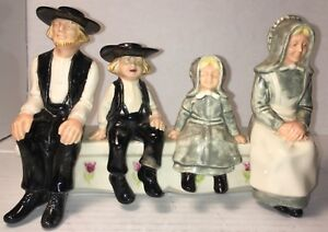 "Holland Mold Glazed Ceramic Amish Quaker Family of Four Seated 7.5""x5""x2.75"" Fun"