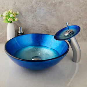 Bathroom Blue Tempered Glass Basin Vanity Sink Bowl Waterfall Faucet Combo
