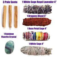 5X Sage Smudge Sticks White Dragons Blood 7 Chakras  Lavender Palo Santo Crystal