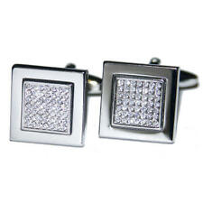Silver Square With Clear Crystal Centre Cufflinks & Gift Pouch Glitter Diamond