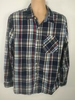 MENS FAT FACE BLUE WHITE RED CHECKED COTTON LONG SLEEVED BUTTON UP SHIRT TOP XL
