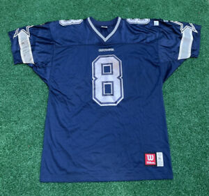 Vintage Wilson Troy Aikman Signed Dallas Cowboys Blue Jersey Men's XL