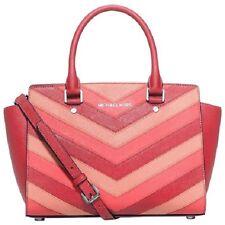 c9fc3b4b9c4d Michael Kors Selma Top Zip Coral Chevron Saffiano Leather Satchel Crossbody  Bag