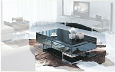 Lola 1300x700 Mirrored Black 2 Drawer Coffee Table - BRAND NEW