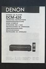 DENON dcm-420 LETTORE CD orig. istruzioni d'USO / MANUALE D'USO TOP Zust