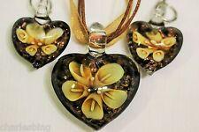 Dichroic Art Glass Foiled BRONZE HEART Pendant & Earrings Set Organza Necklace