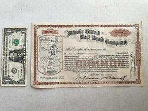 1928 Illinois Central Railroad Co 12 Shares Stock Certificate Line Map Vignette