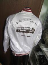 vtg White satin red baseball Trucker JACKET mens XL dunbrooke Pla-Jac SEMI-TRUCK