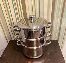 3 Tier Stainless Steel Induction Steamer Cooker Pot Set Glass Lid 20cm Saucepans