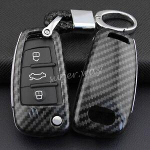 FOR Audi A1/A3/S3/Q3/Q7/TT Carbon Fiber Hard Key Fob Chain Cover Accessories