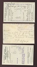 STAMP DEALER W.GEORGE HANDSWORTH c1910 POSTCARD BIDS + MESSAGE...3 ITEMS