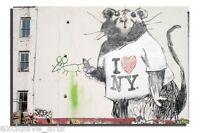 INSPIRING BANKSY GRAFFITI ART I LOVE NY RAT DEEP FRAMED WALL ART CANVAS PRINT