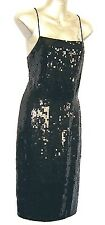 M&S Sexy Black Fully Lined & Sequined Cocktail Party Evening Size 8 Shift Dress