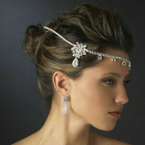 Silver Wedding Bridal Headpiece Crystal Rhinestone Party Jewellery Head Chain UK