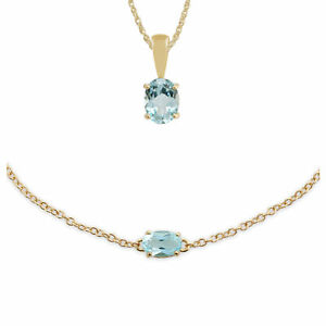 Gemondo 9ct Yellow Gold Blue Topaz Classic 45cm Necklace & 19cm Bracelet Set