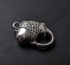 5pcs Tibetan Silver Charm Fish Lobster Clasp 19X13MM CA797